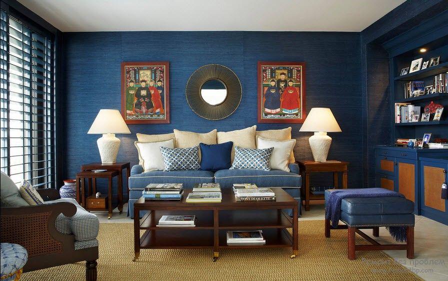 Синий – гармоничен с желтым насыщенным, зеленым, лиловым, стальным, красным цветами. Варианты оттенков и тонов подбираются к основным цветам соответственно этой градации и правилам соответствия и гармонии цветовой палитры.